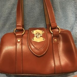 Handbags - Brown Faux Leather Hand Bag with Shoulder Straps